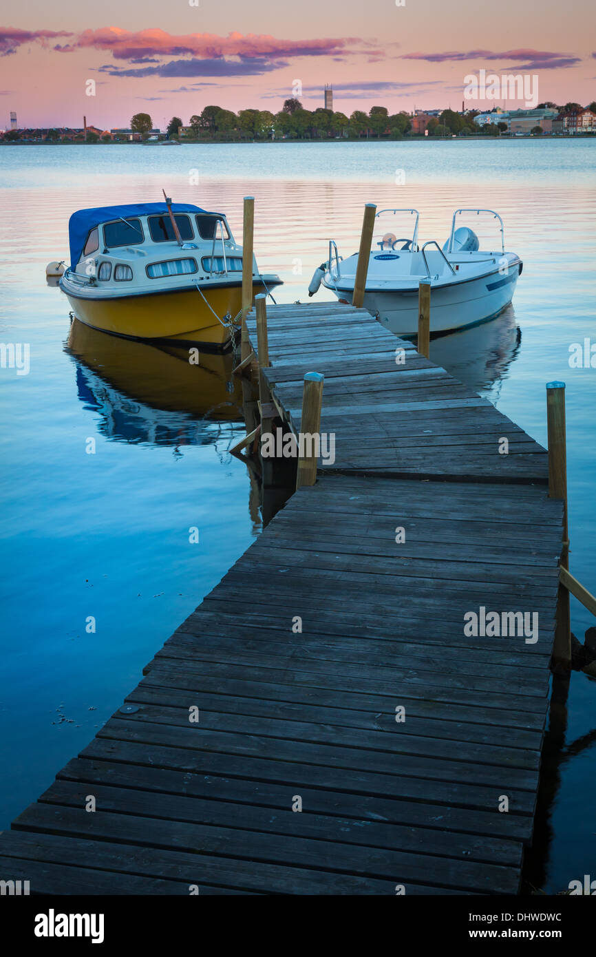 Recreational boats at dock in Karlskrona, Sweden - Stock Image