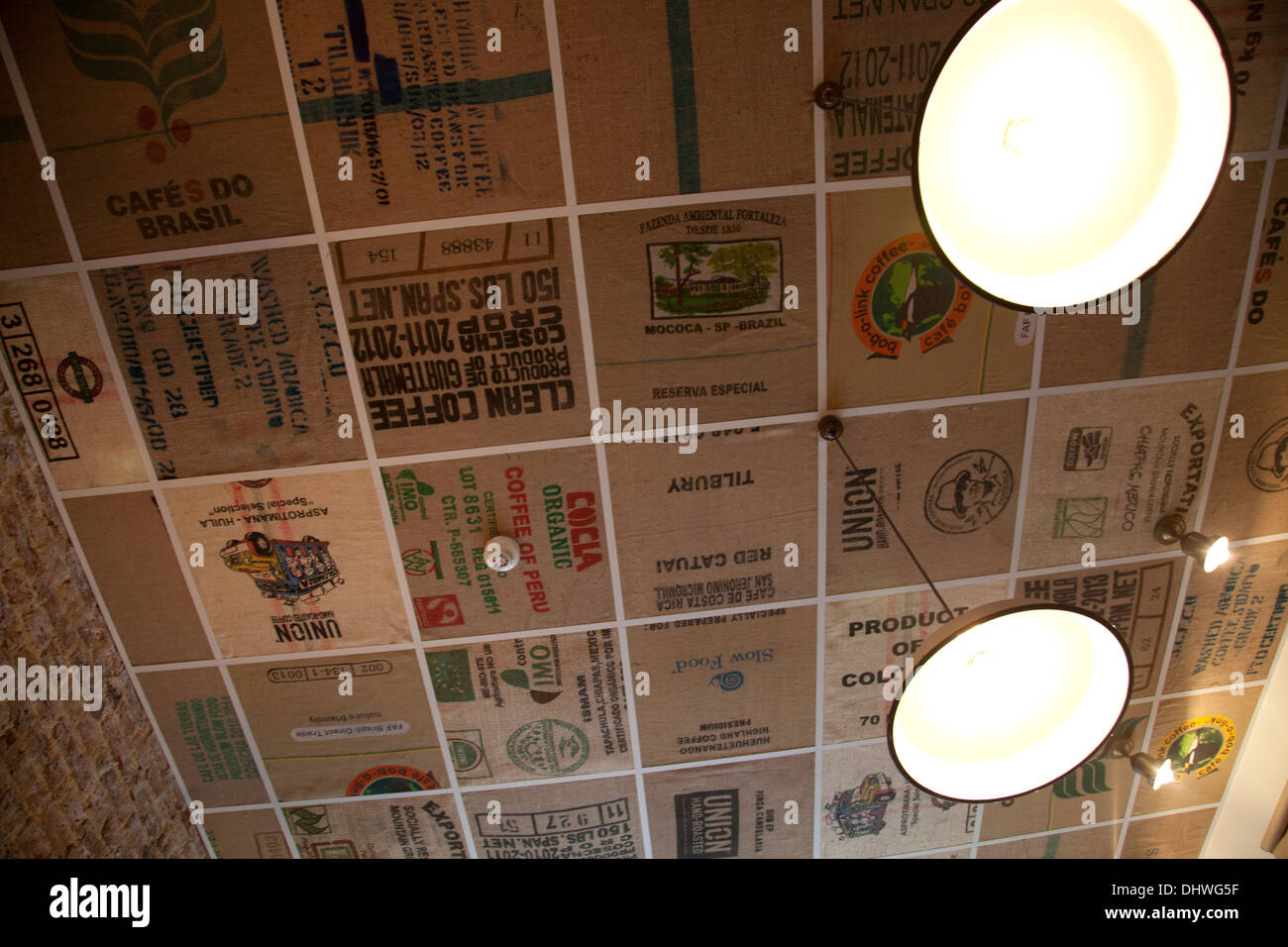 Coffee Bean Sacks Applied as Ceiling Surface at Brickwood Cafe in Clapham - SW4 - Stock Image