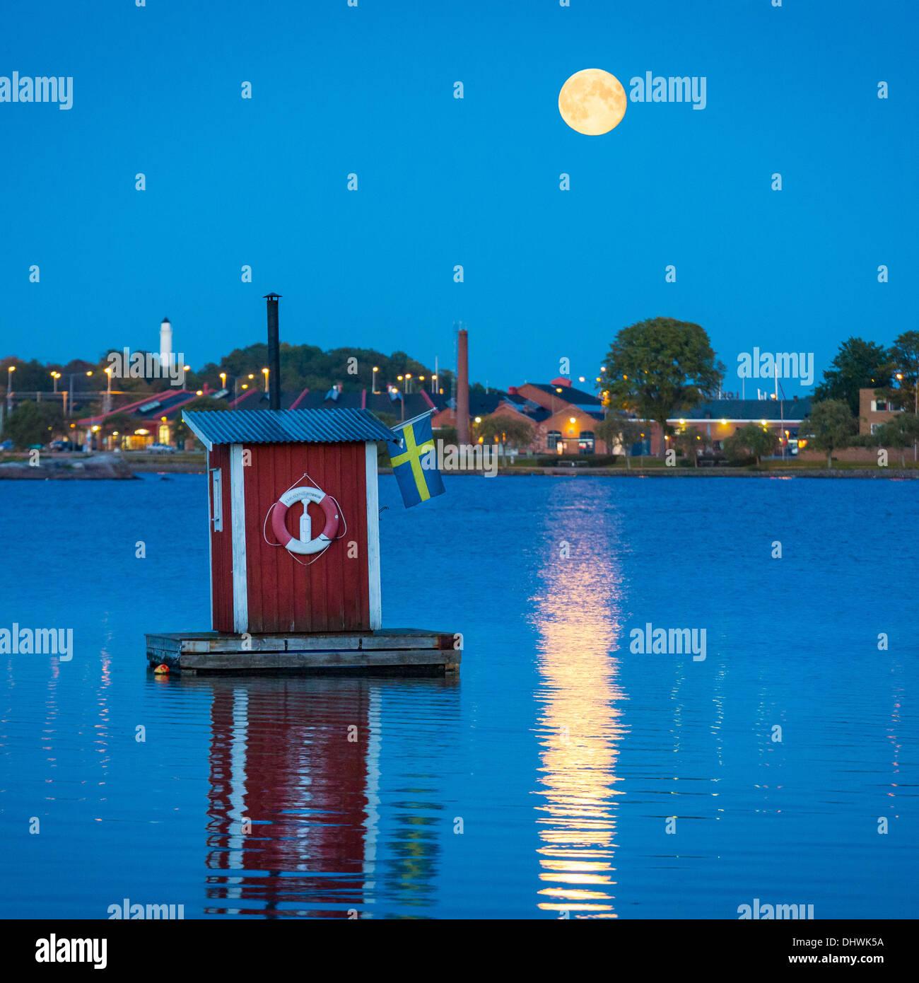 Floating sauna cabin in Karlskrona, Sweden - Stock Image
