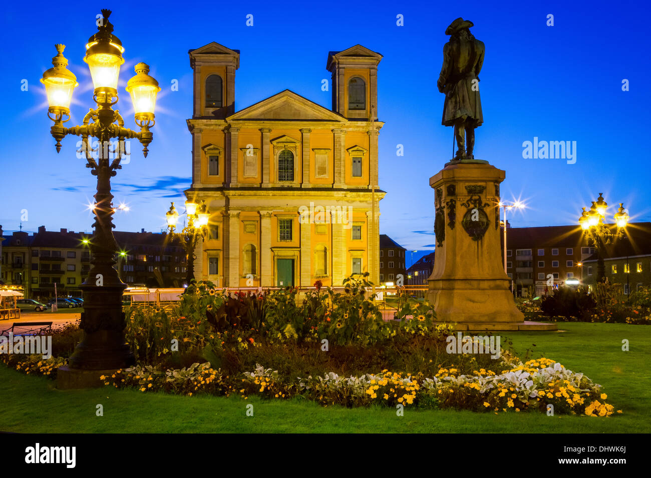The Fredrikskyrkan church and statue of Carl XI on the Great Square in Karlskrona, Sweden - Stock Image