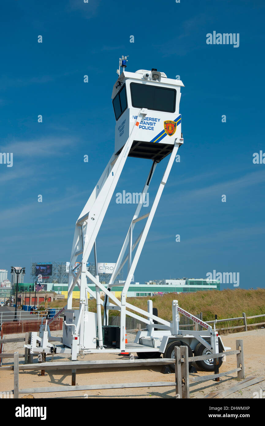 USA American New Jersey NJ N.J. Atlantic City local police use a mobile surveillance device to see over the boardwalk Stock Photo