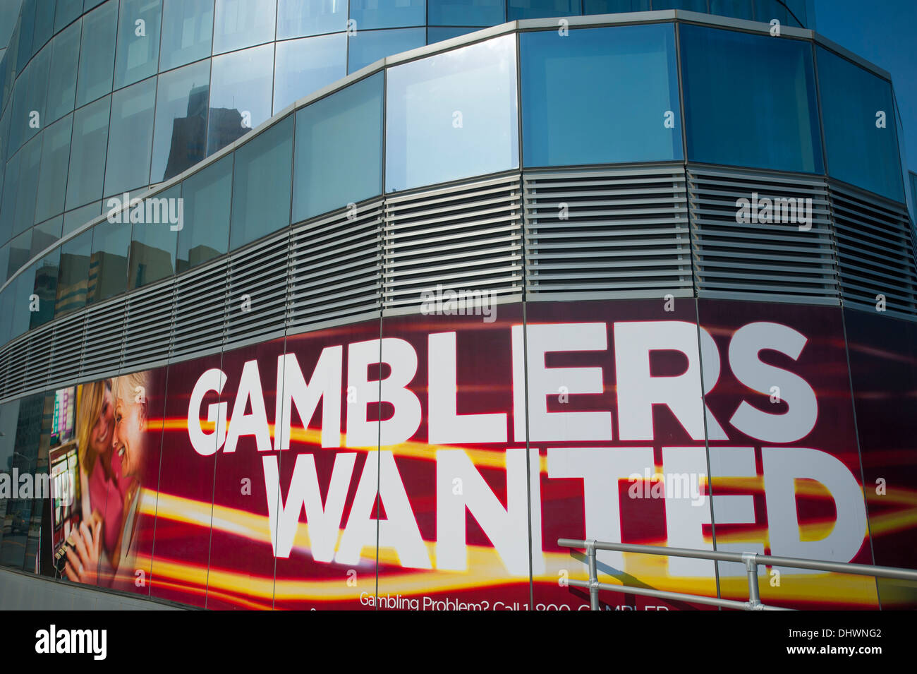 USA America American New Jersey NJ Gamblers Wanted sigh on the Revel Casino Hotel resort exterior - Stock Image