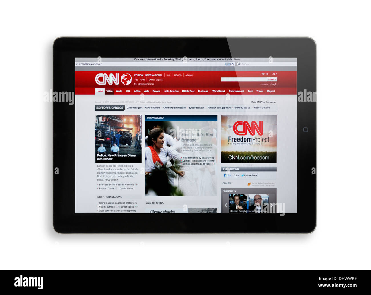 CNN website on iPad screen - Stock Image