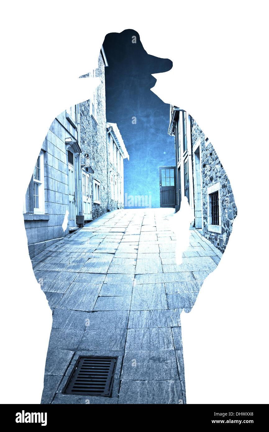 Stone buildings and pavers in an old city alley inside the outline of a man in a trench coat. - Stock Image