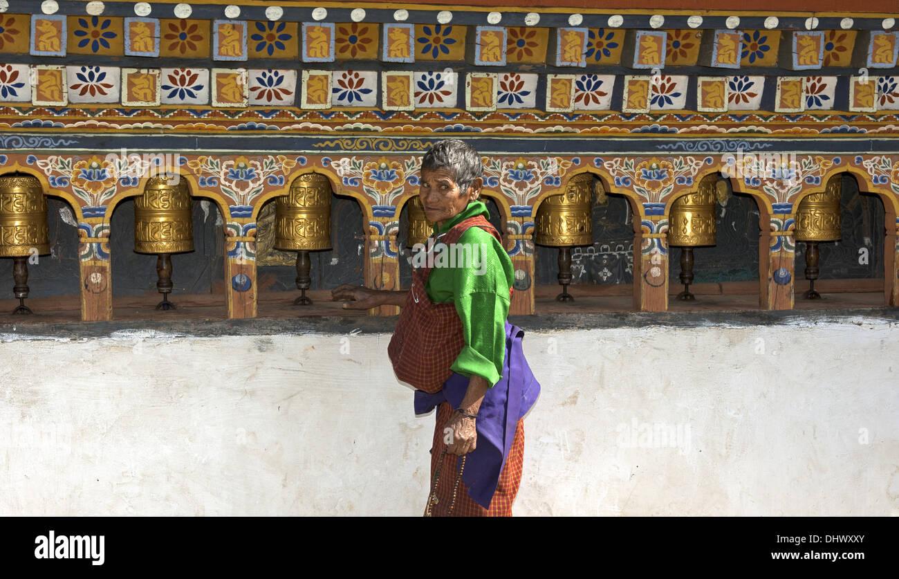 Buddhist prayer mills, Lobesa, Bhutan - Stock Image