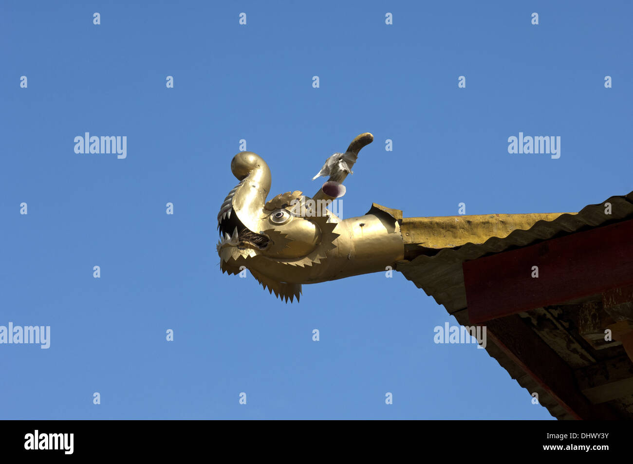 Gargoyle symbolizing a dragon, Lobesa, Bhutan - Stock Image