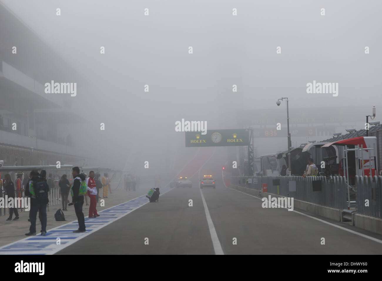 Start of practice one delayed due to fog- Formula1 World Championship 2013 - Round 18 United States Grand Prix at Circuit of the Americas, USA, Texas, Austin - Friday 15th November 2013 - Stock Image