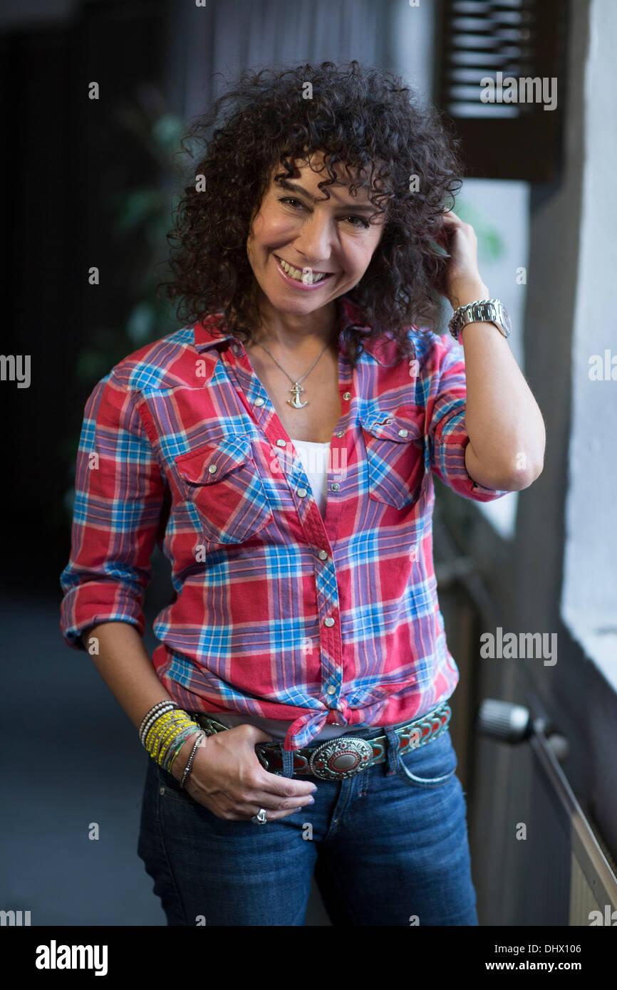 Maria Ketikidou on the set of ARD TV series