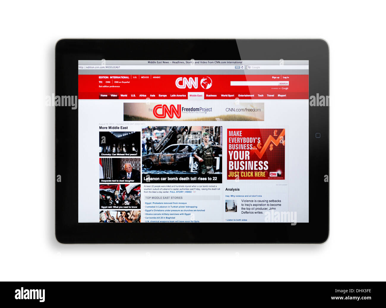 CNN website on iPad screen - Middle East - Stock Image