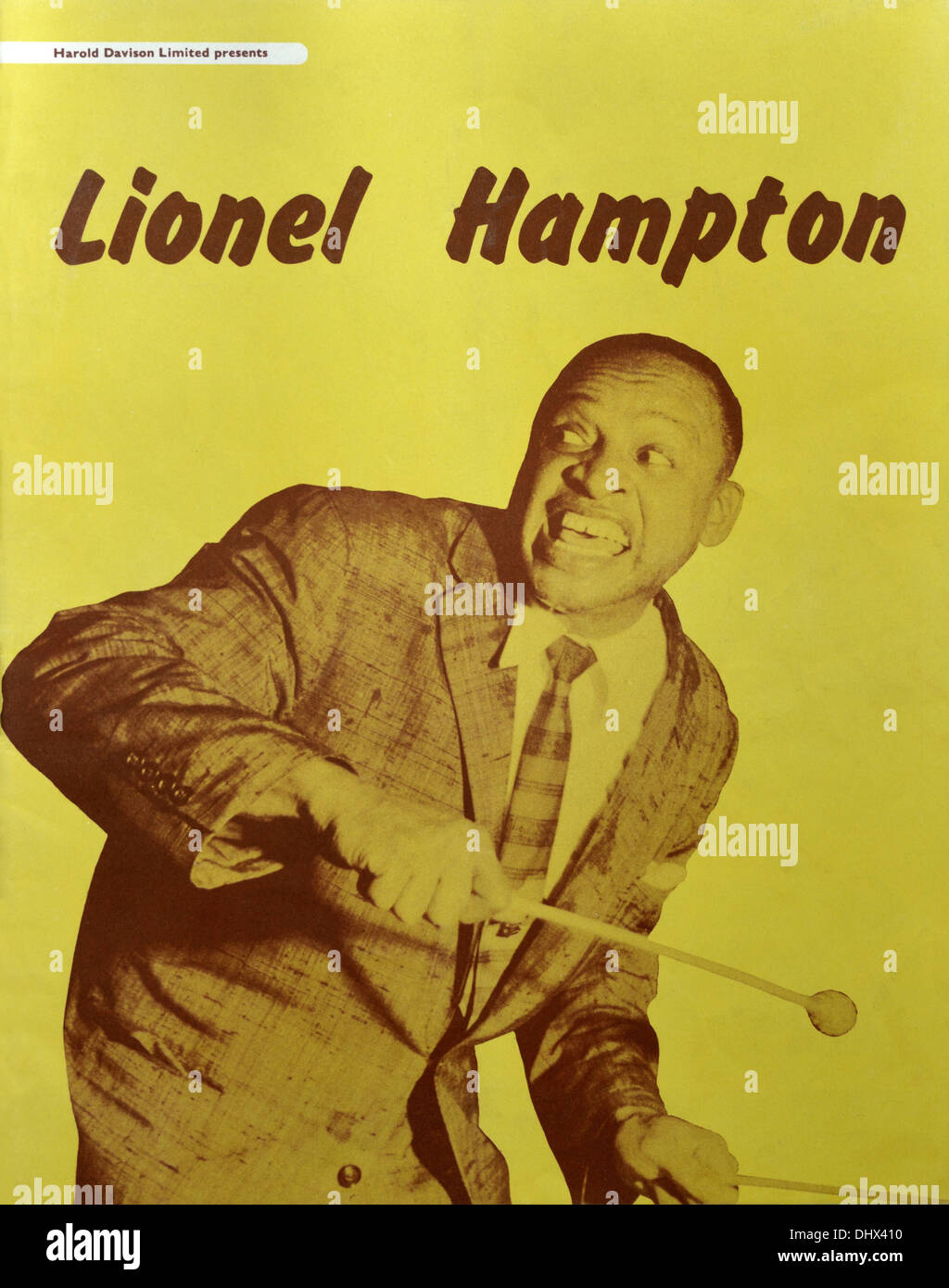 Jazz concert programme. Harold Davison Limited presents Lionel Hampton. British Tour 1956. - Stock Image