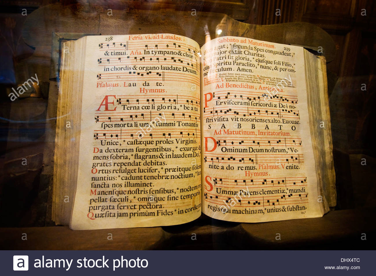 book kept in the sacristy of the Basilica of Santa Croce,Florence - Stock Image