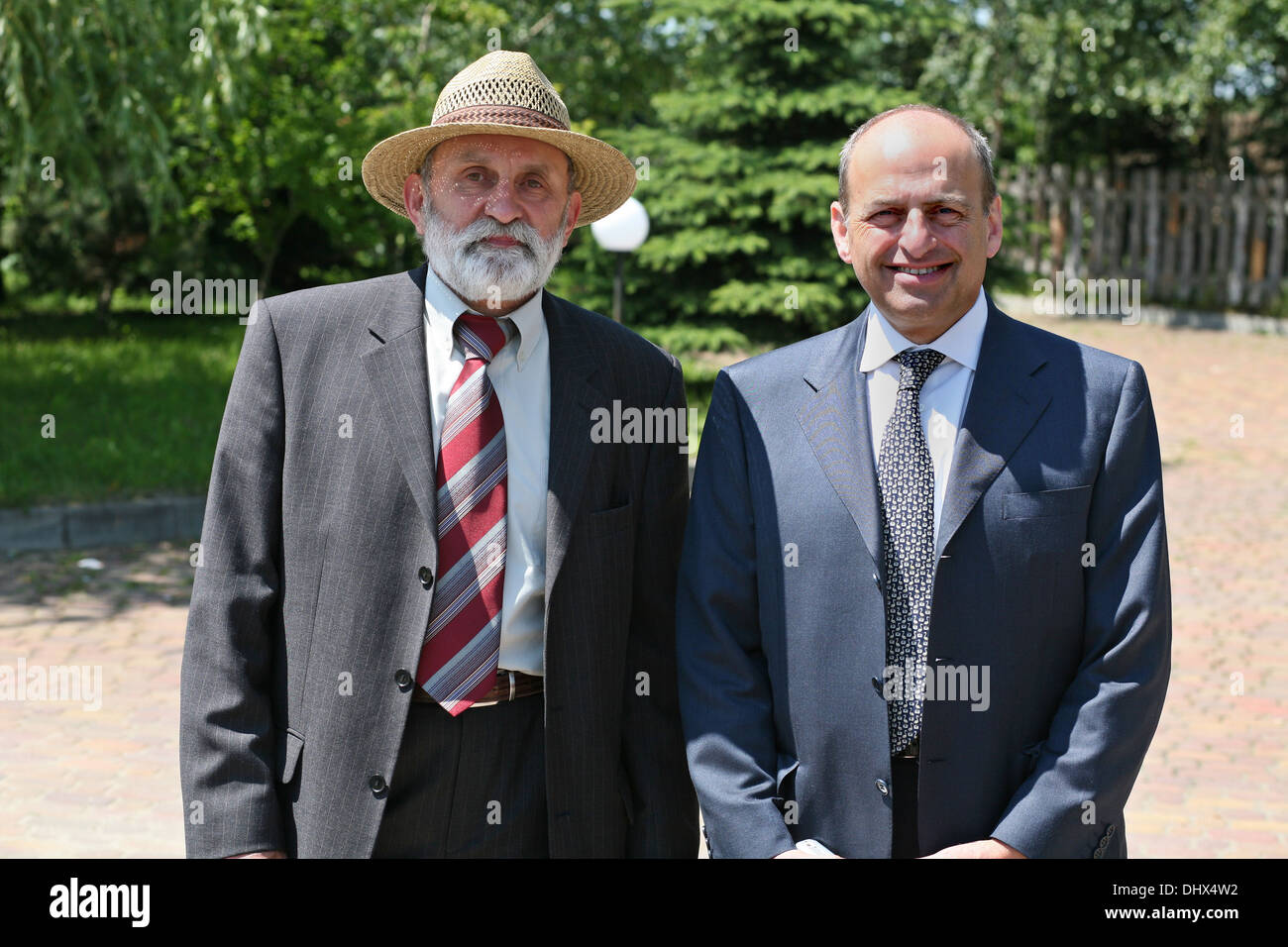 Mr. Adam Bartosz of Tarnow Committee for the Protection of Monuments of Jewish Culture and Mr Romie Tager QC - Stock Image