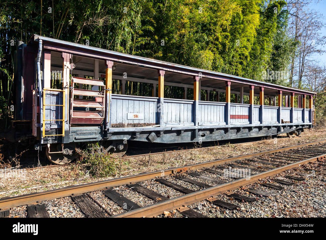Open passenger railroad car used for Smoky Mountain tours on side spur near Dillsboro and Sylva, North Carolina, USA. - Stock Image