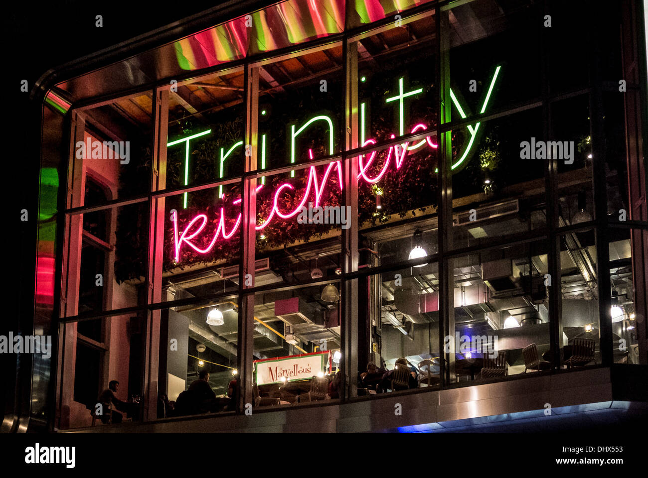 Trinity Kitchen neon sign, Trinity Shopping Centre, Leeds, UK. - Stock Image