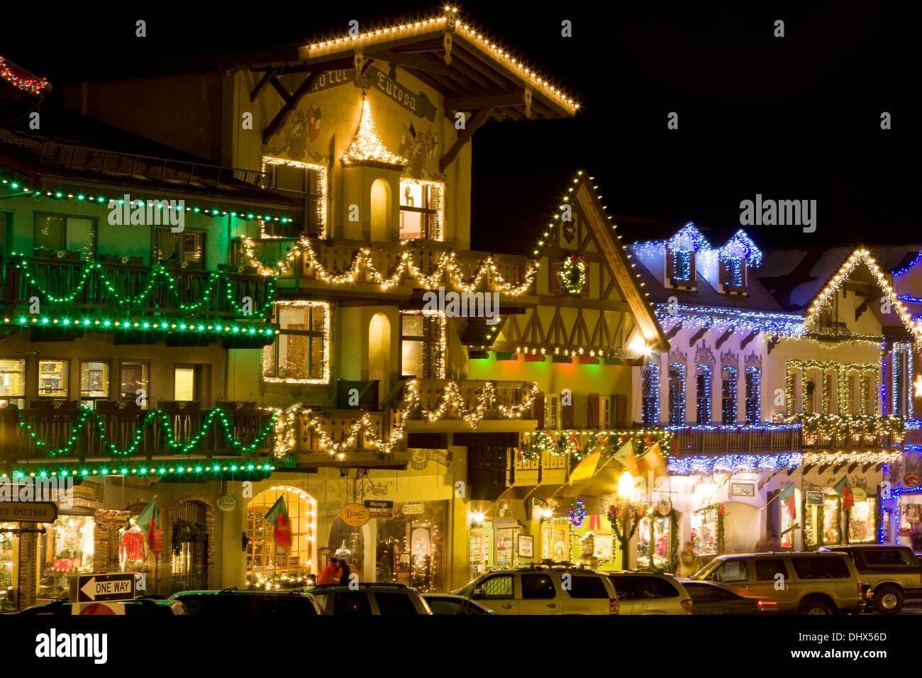 Leavenworth Christmas Lights.The Town Of Leavenworth Decorated With Christmas Lights For