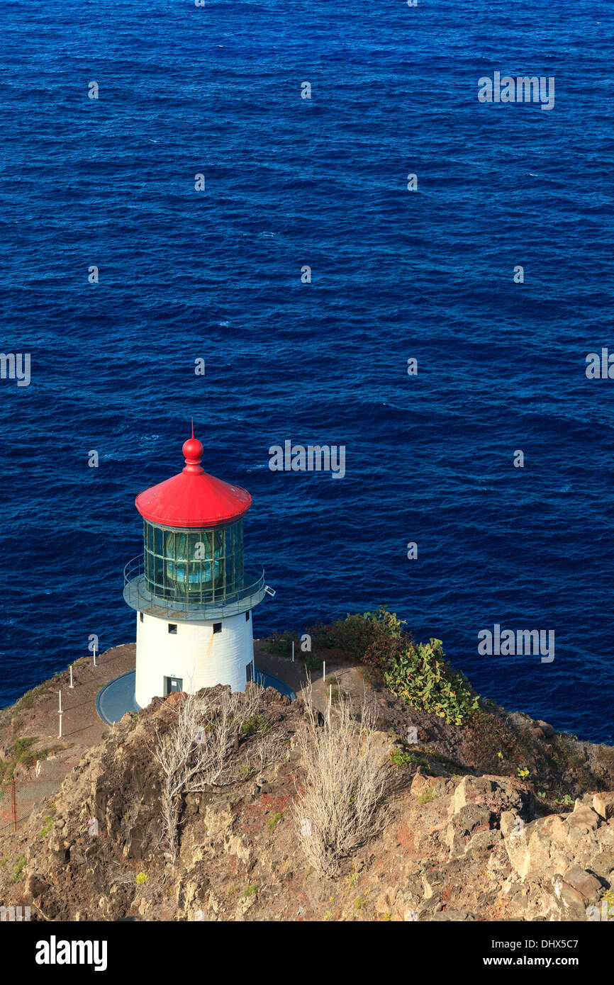 USA, Hawaii, Oahu, Makapuu Point, Lighthouse - Stock Image