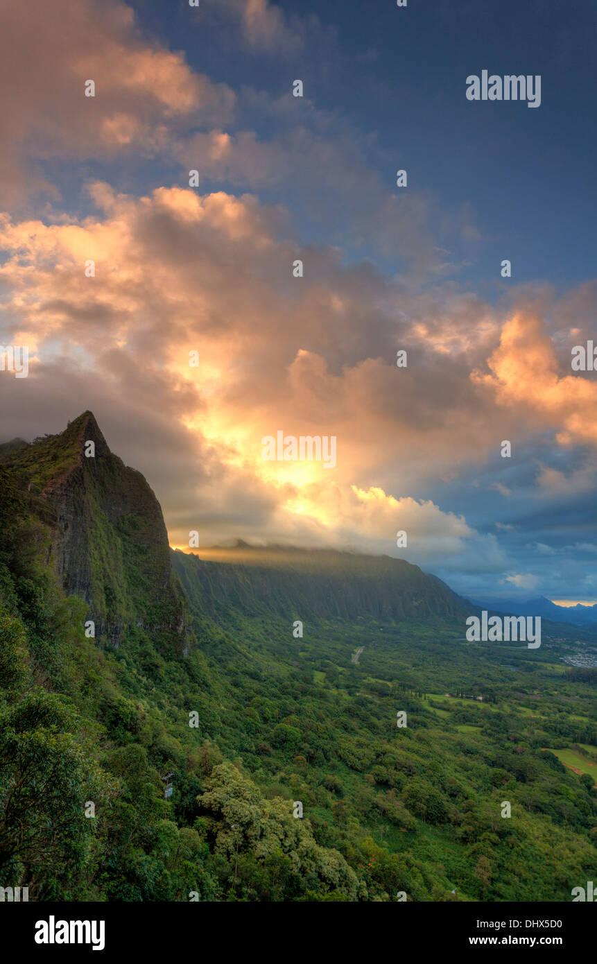 USA, Hawaii, Oahu, Nuuanu Pali Lookout - Stock Image