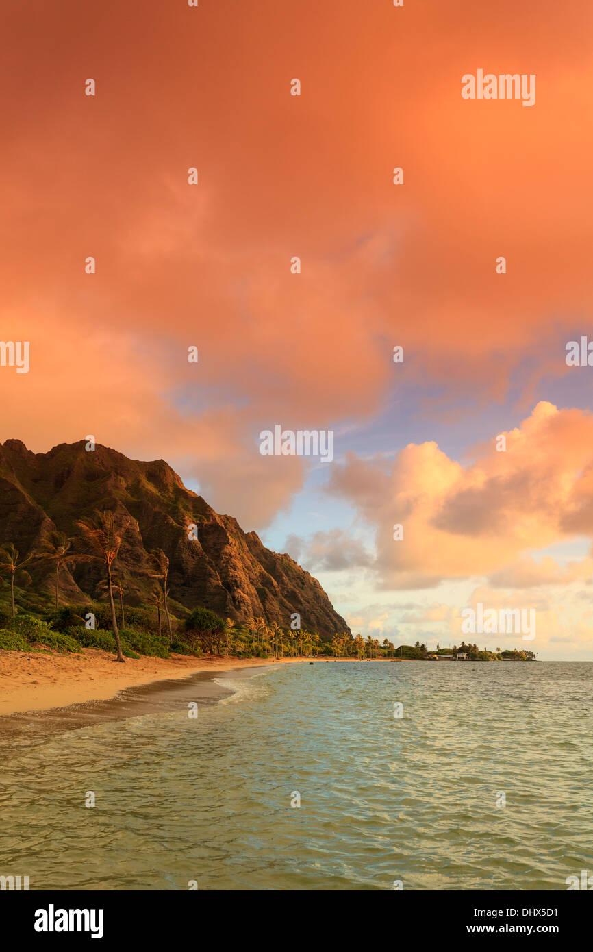 USA, Hawaii, Oahu, Kualoa Beach Park - Stock Image
