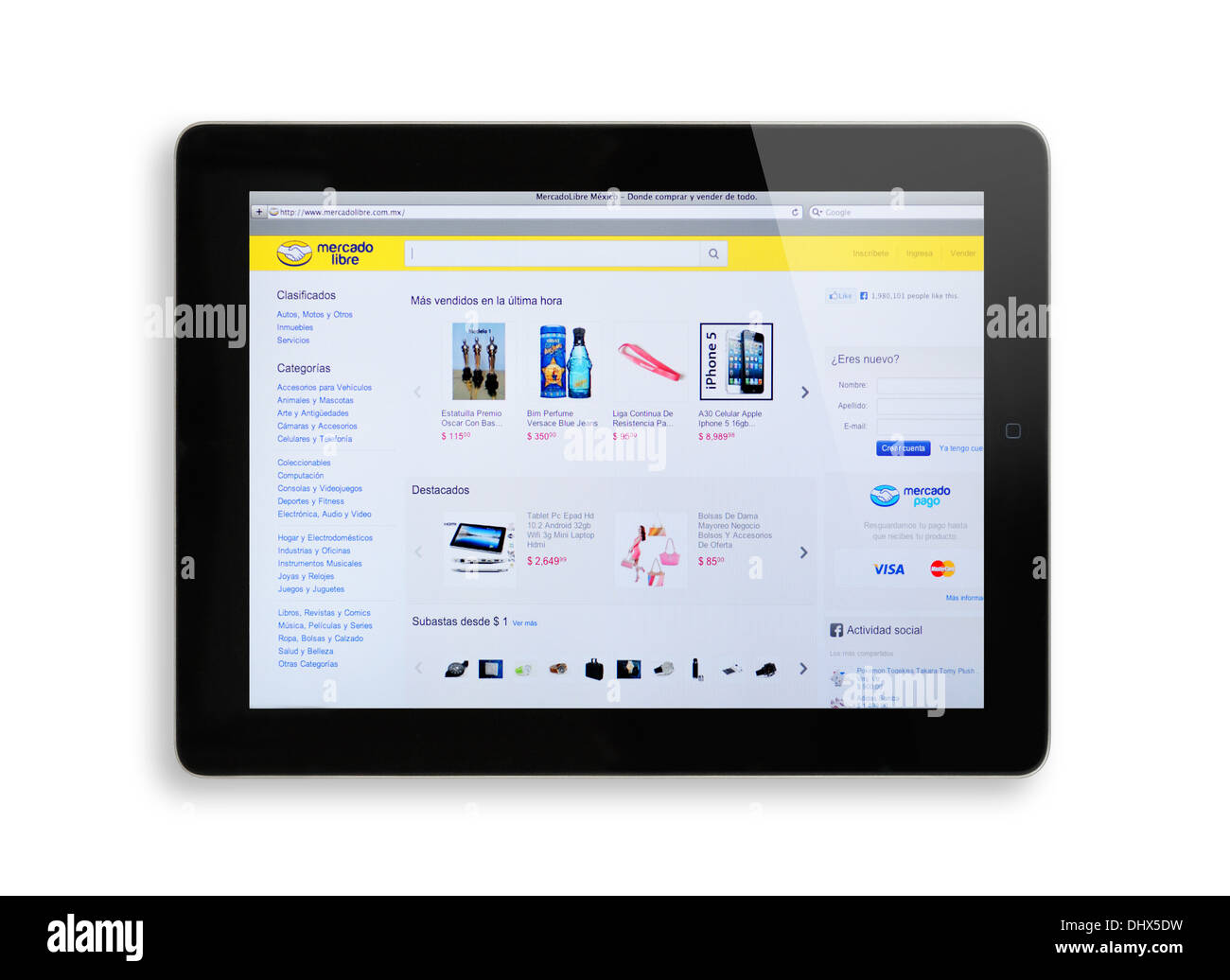 Mercado Libre online shopping website on iPad screen - Stock Image