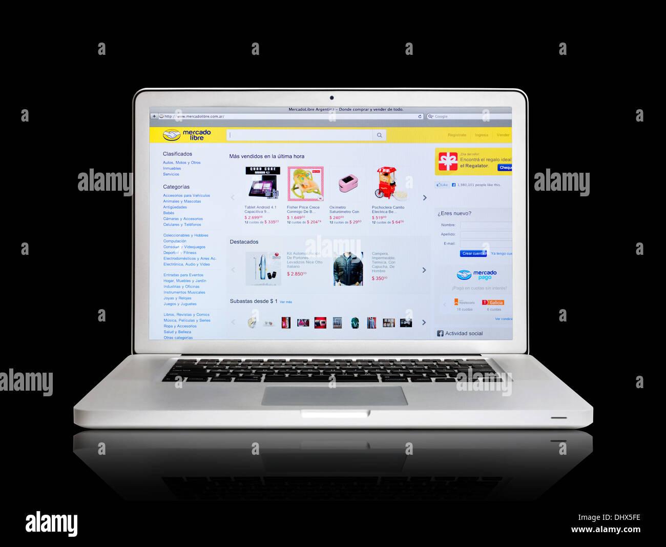 Mercado Libre online shopping website on laptop screen - Stock Image
