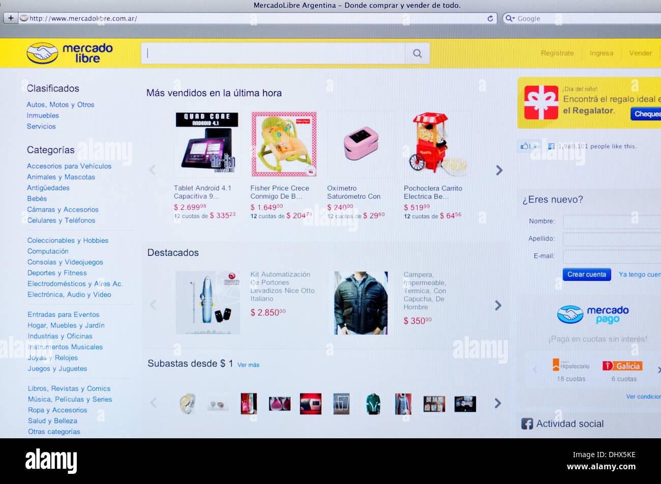 Mercado Libre online shopping website on computer screen - Stock Image
