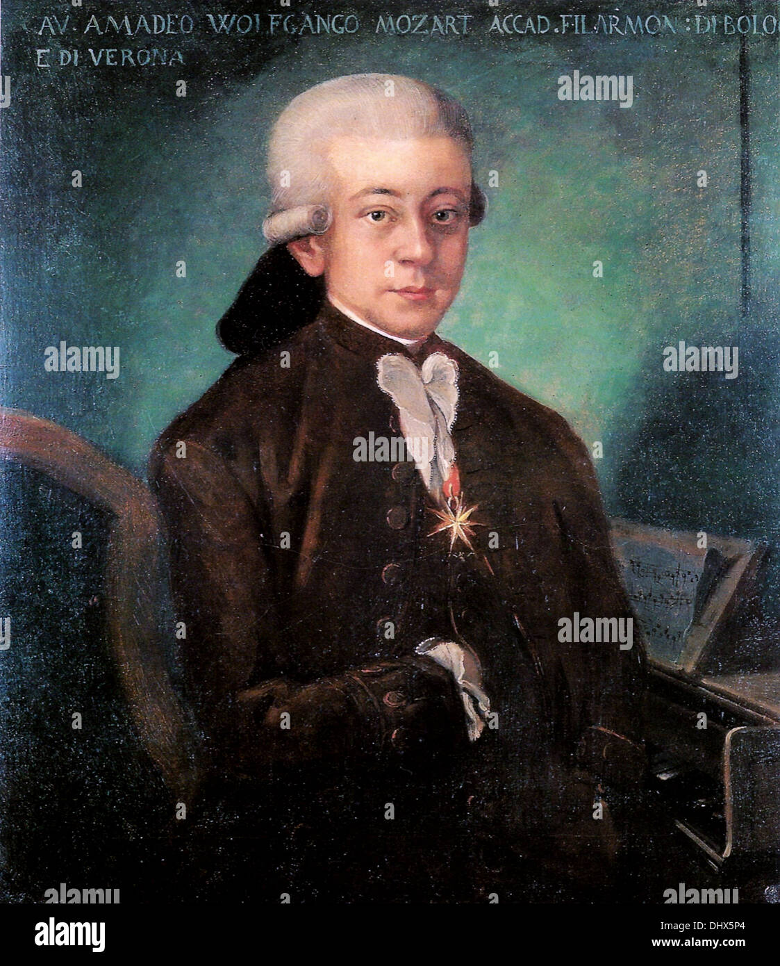 Mozart - by Martini Bologna, 1777 - Stock Image