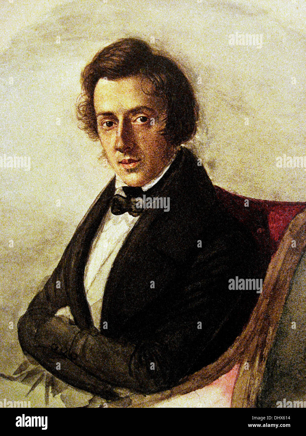 Portrait of Frederick Chopin at age 25 - by Maria Wodzinska, 1835 - Stock Image