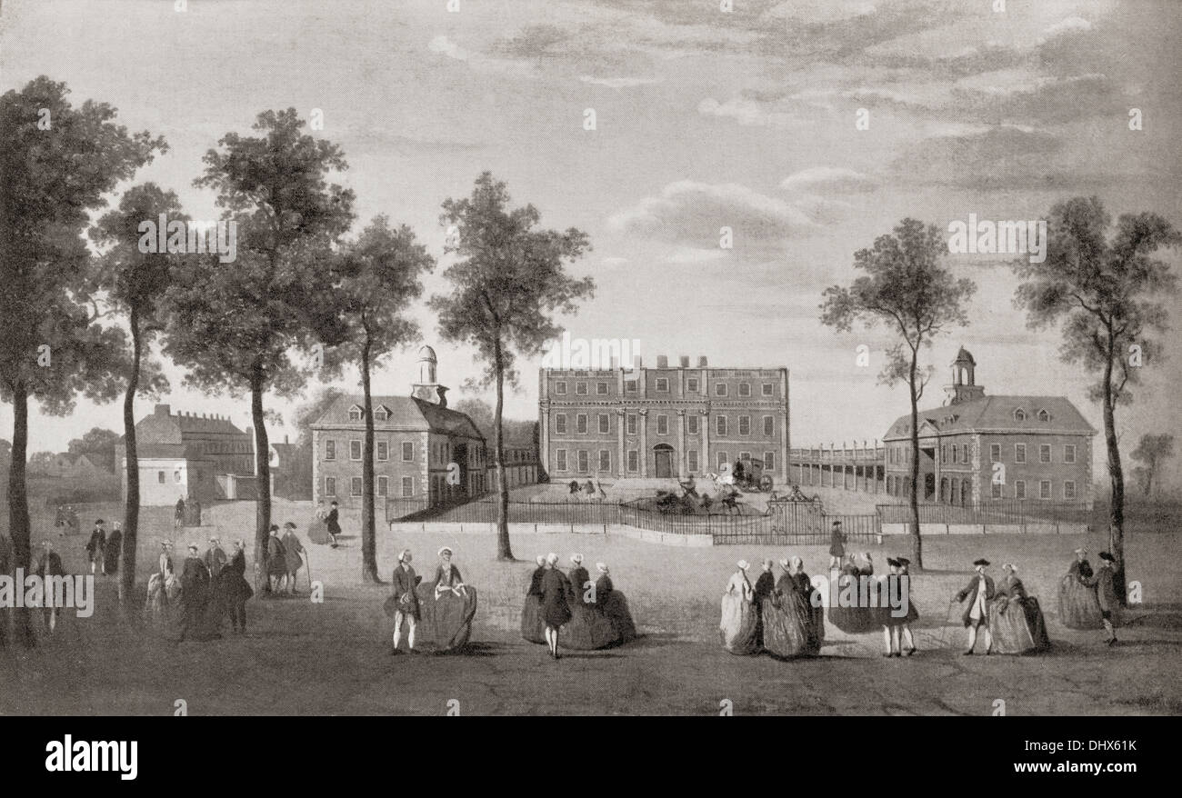 Buckingham House in about 1750. From Buckingham Palace, Its Furniture, Decoration and History, published 1931. - Stock Image