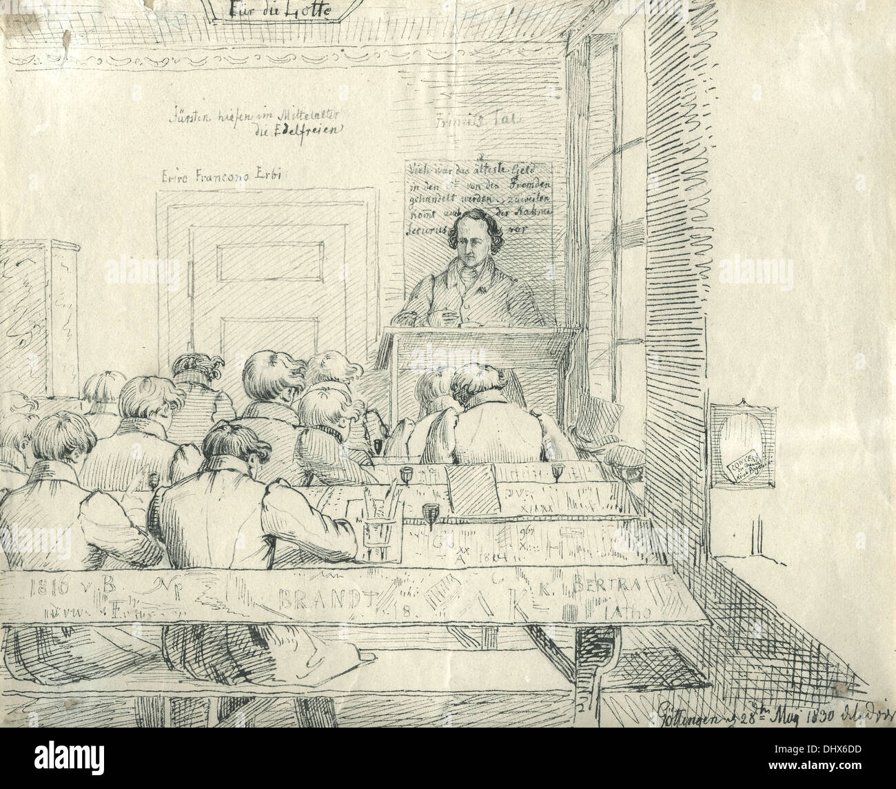 Jacob Grimm lecturing - illustration by Ludwig Emil Grimm, 1830 - Stock Image