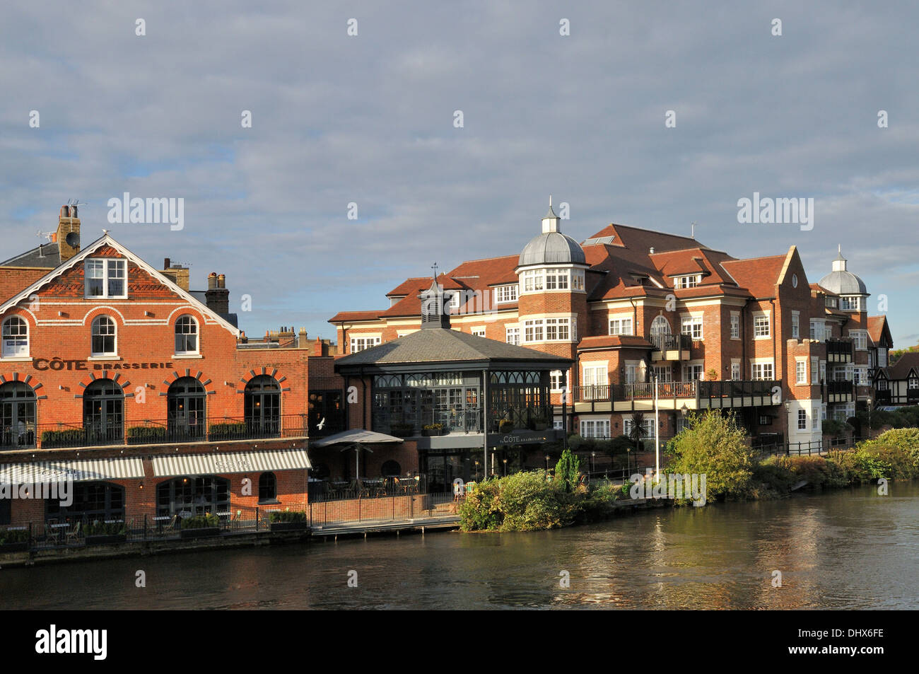 Côte Brasserie Windsor restaurant and river Themes by Eton Bridge, UK - Stock Image