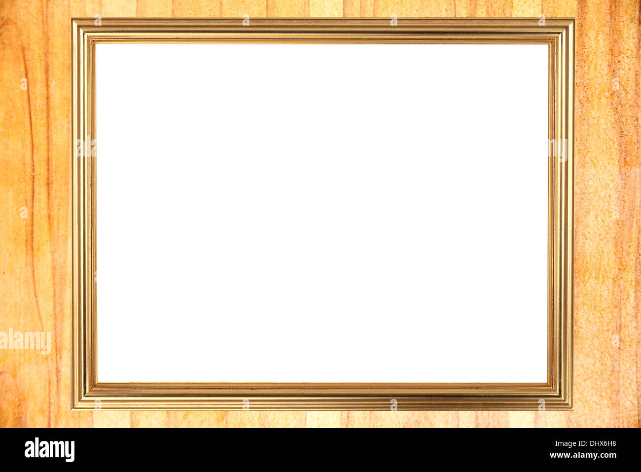 The Gold frame on Through burnish the wood planks to polished beauty. - Stock Image