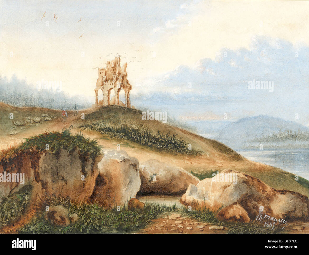 Landscape with a Fantastic Castle - by George Sand, 1865 - Stock Image