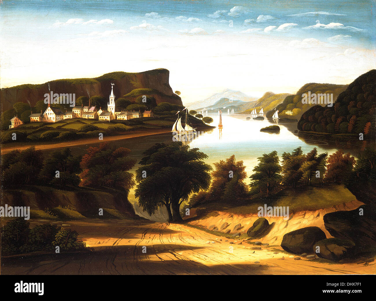 Lake George and the Village of Caldwell - by Thomas Chambers, 1850's - Stock Image