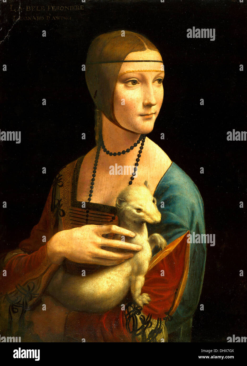 Lady with an Ermine is a painting by Leonardo da Vinci, 1489–1490 - Editorial use only. Stock Photo