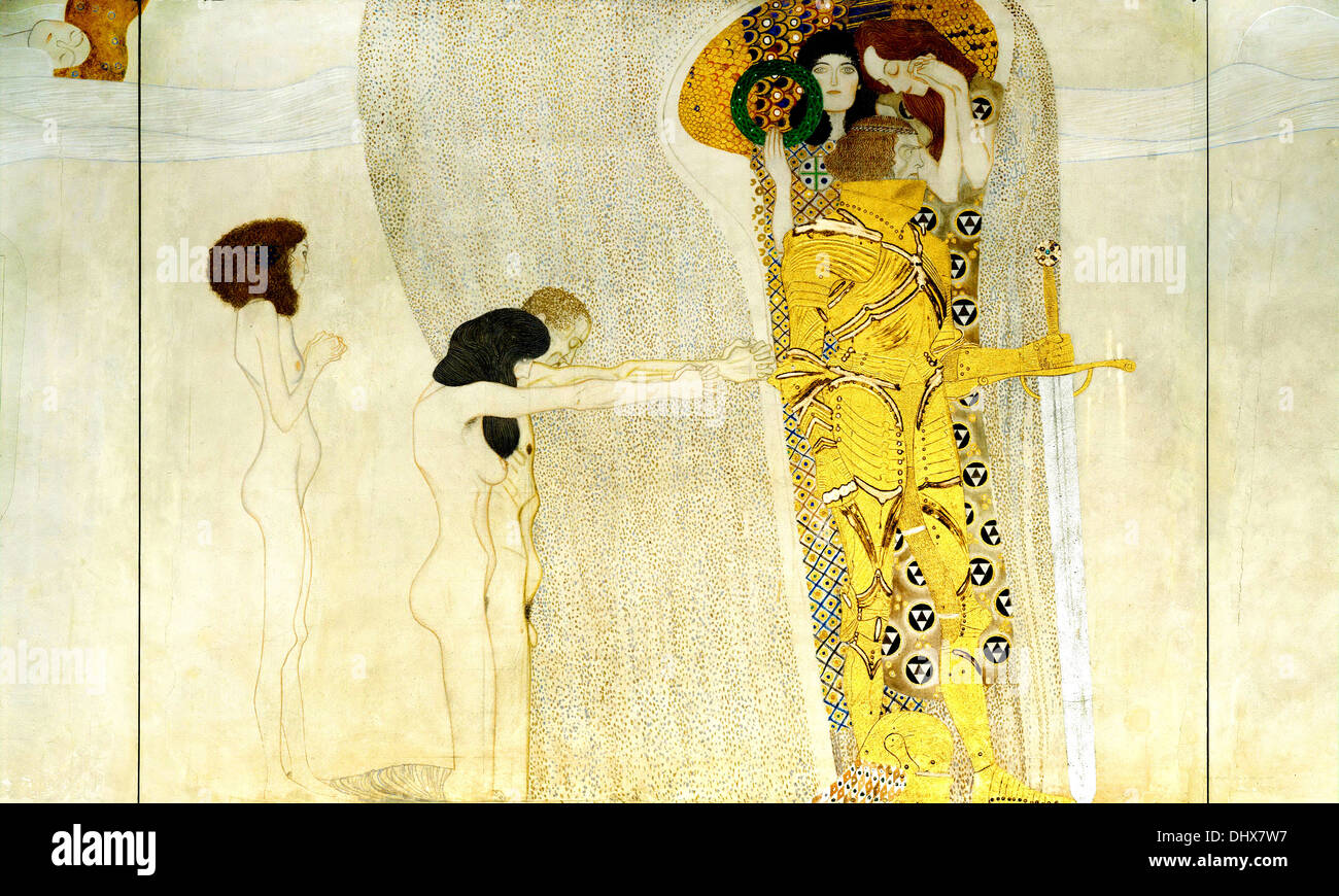 The Beethoven Frieze: The Longing for Happiness - by Gustav Klimt, 1902 - Stock Image
