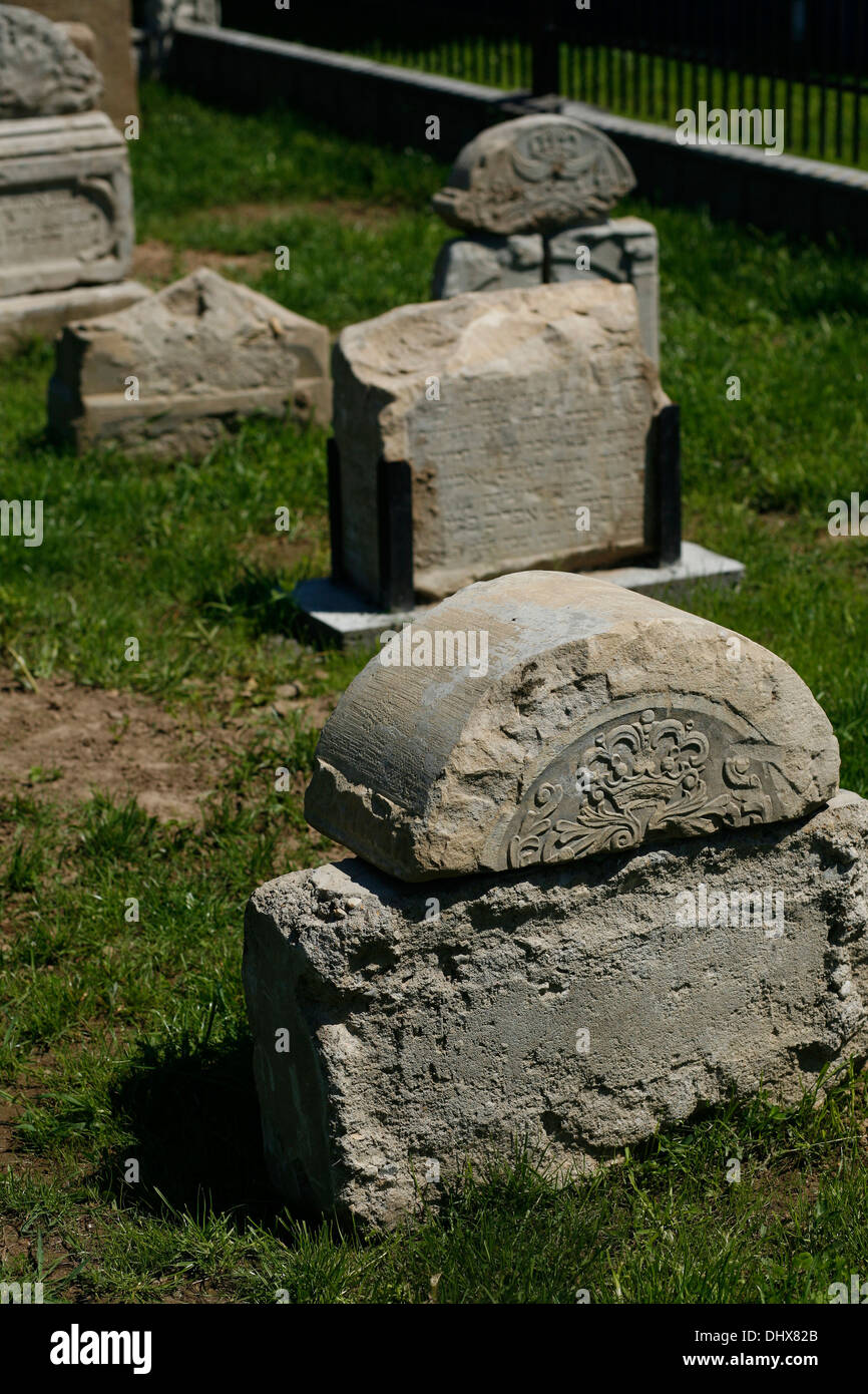 stolen Jewish headstones returned by locals to the newly re-consecrated  cemetery of Brzostek Poland, - Stock Image
