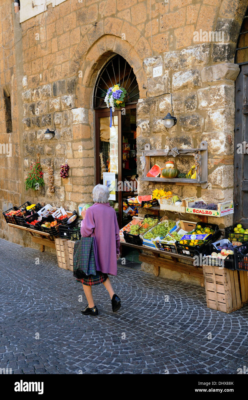 fruit and vegetable shop stall Orvieto italy - Stock Image