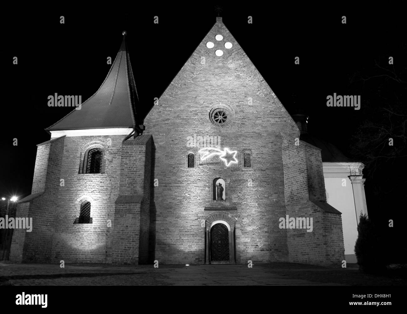 Facade Of Gothic Church In Poznan By Night Poland