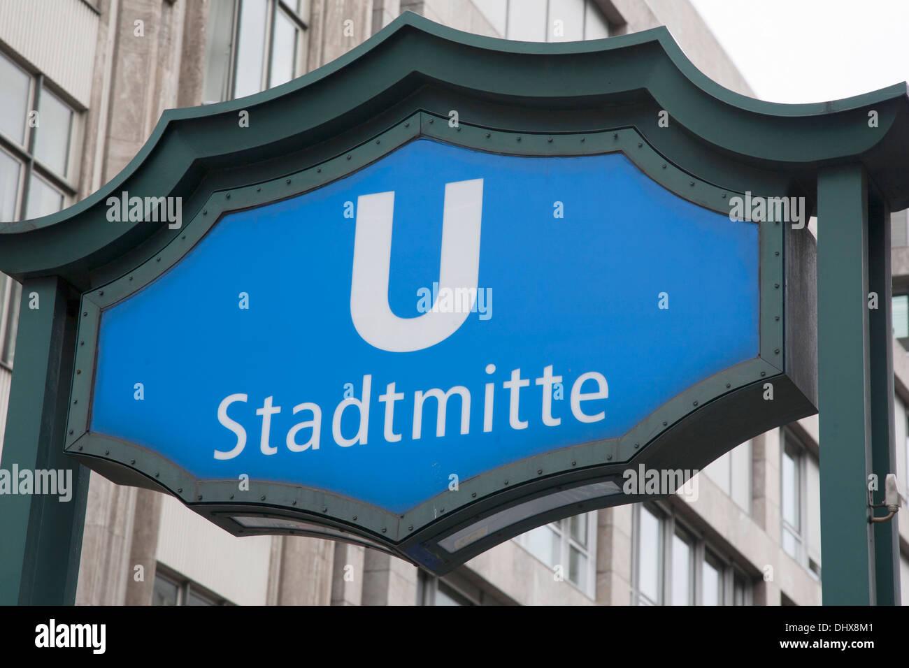 Blue Stadtmitte U-Barn Subway; Sign; Berlin; Germany - Stock Image