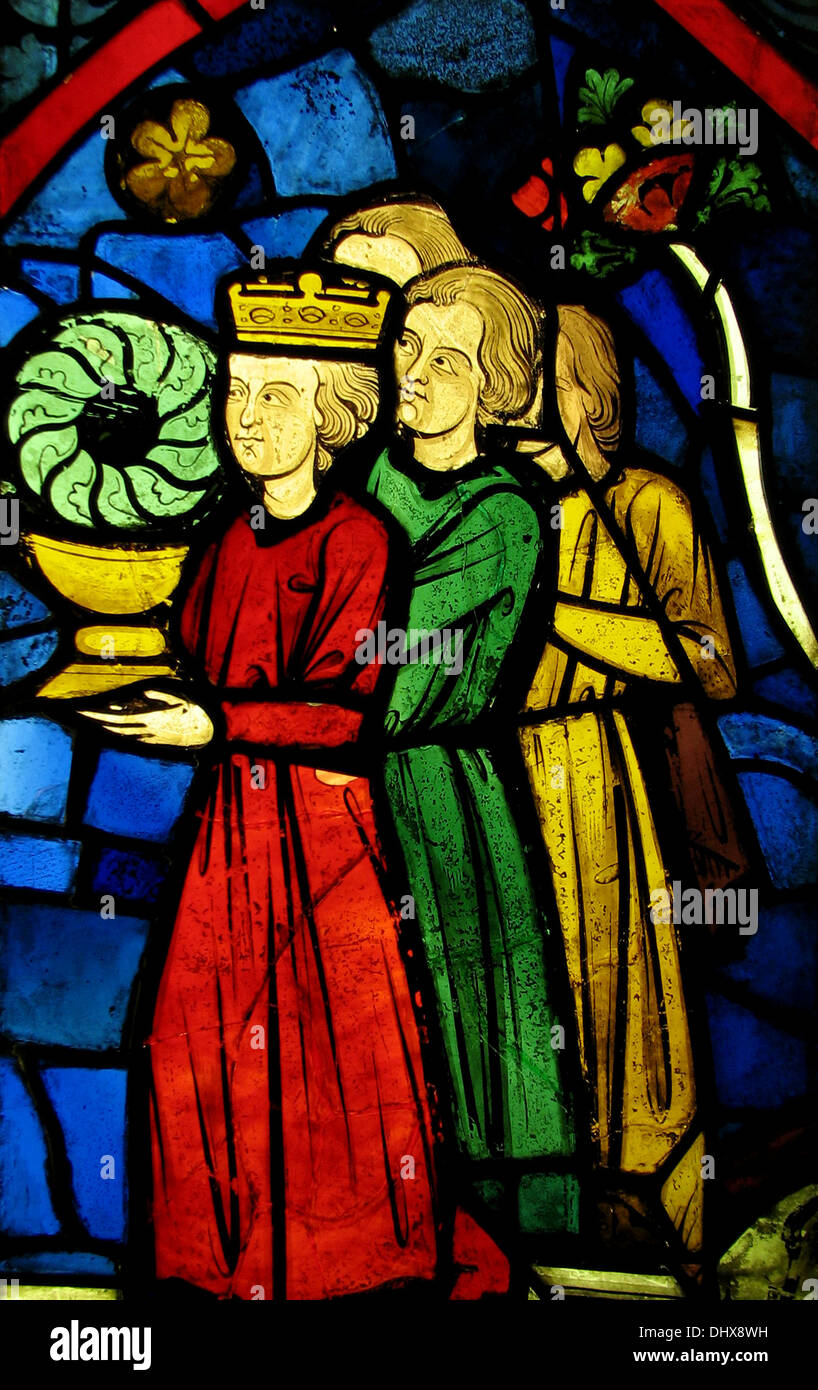 King Louis IX Carrying the Crown of Thorns, Stained glass, 1245–48, France - Stock Image
