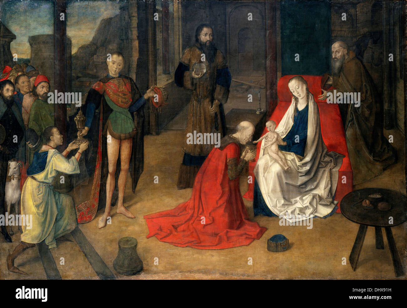 The Adoration of the Magi - by Justus of Ghent, 1465 - Stock Image