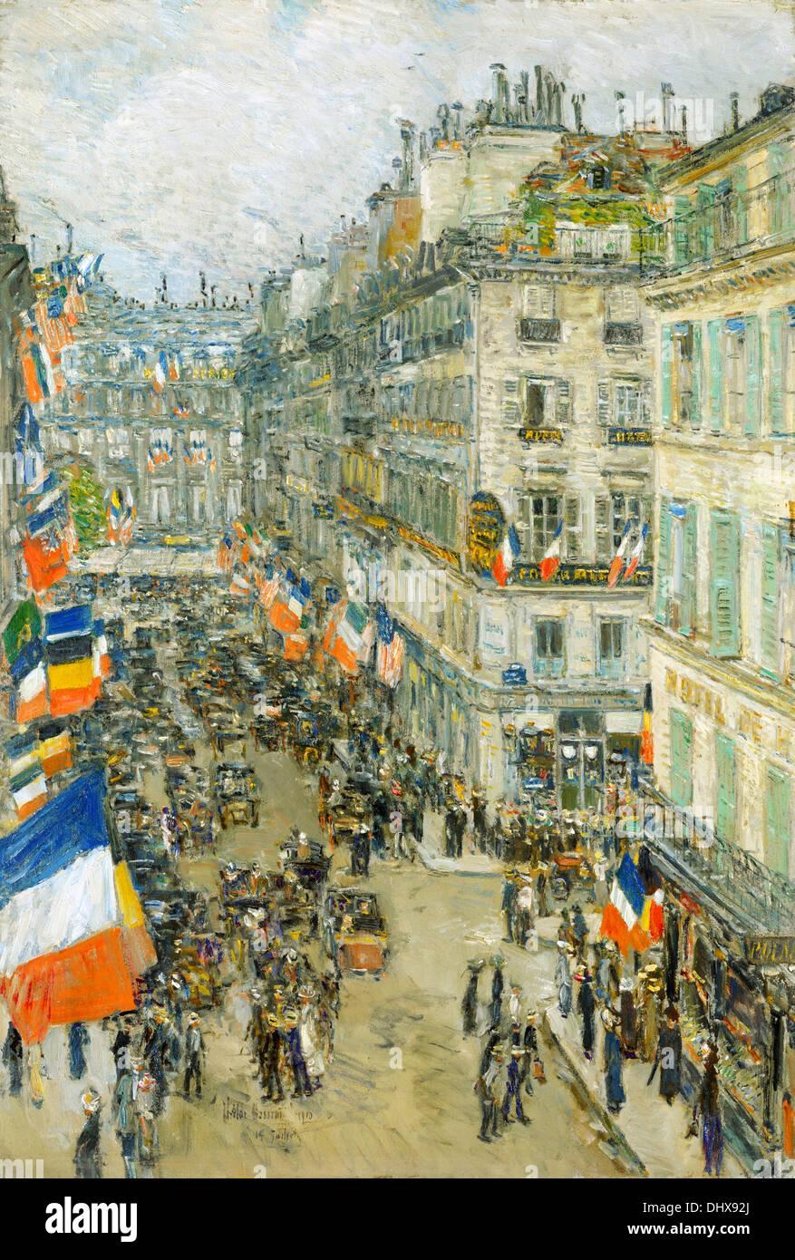 July Fourteenth, Rue Daunou - by Childe Hassam, 1910 - Stock Image