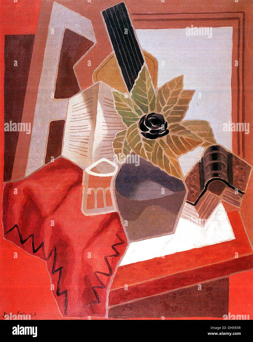 Flower on a Table  - by Juan Gris, 1925 - Stock Image
