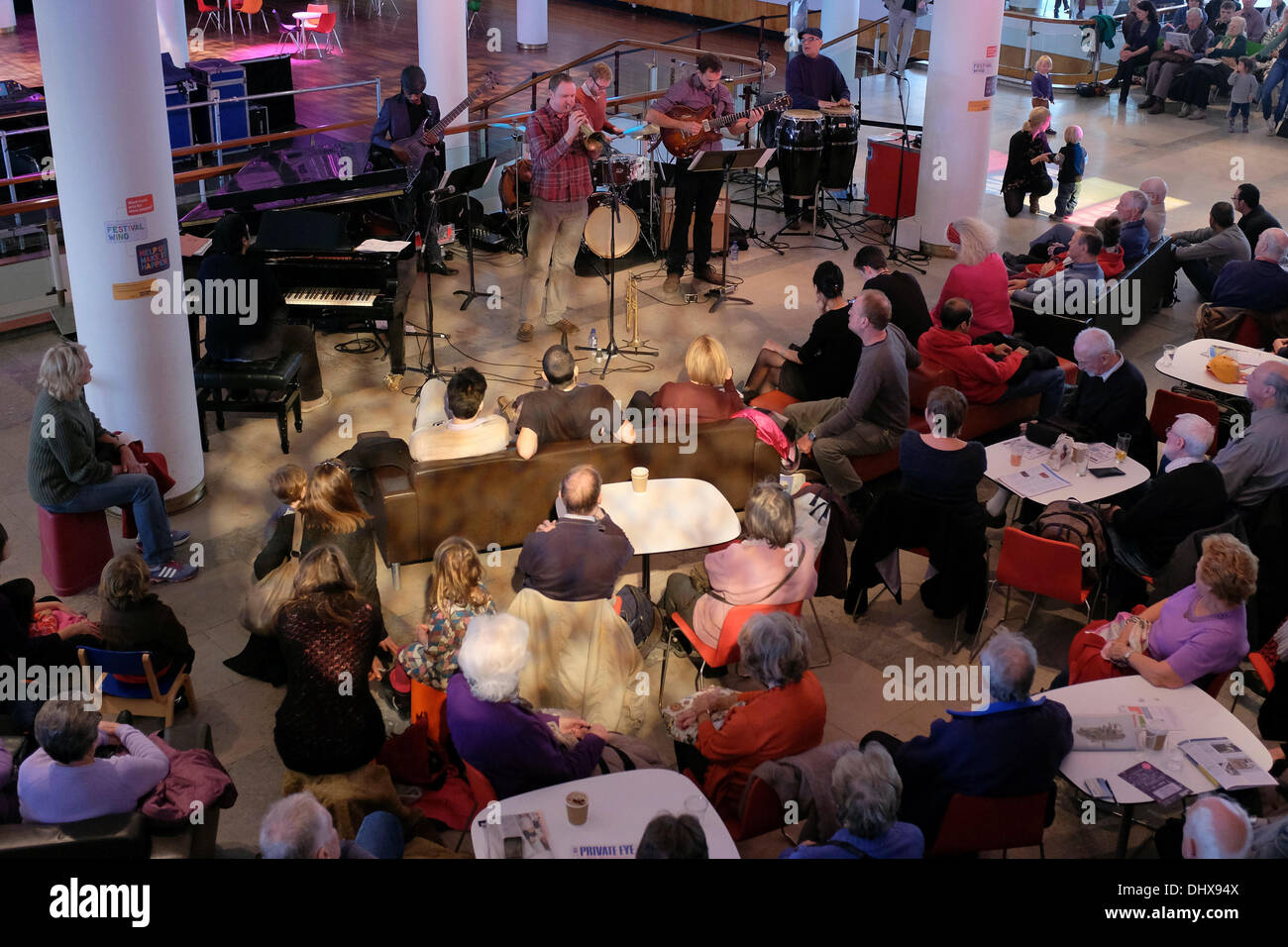 Afro-Cuban jazz bad, Trogon, performs a free concert at the Southbank Centre to open the 2013 London Jazz Festival. - Stock Image
