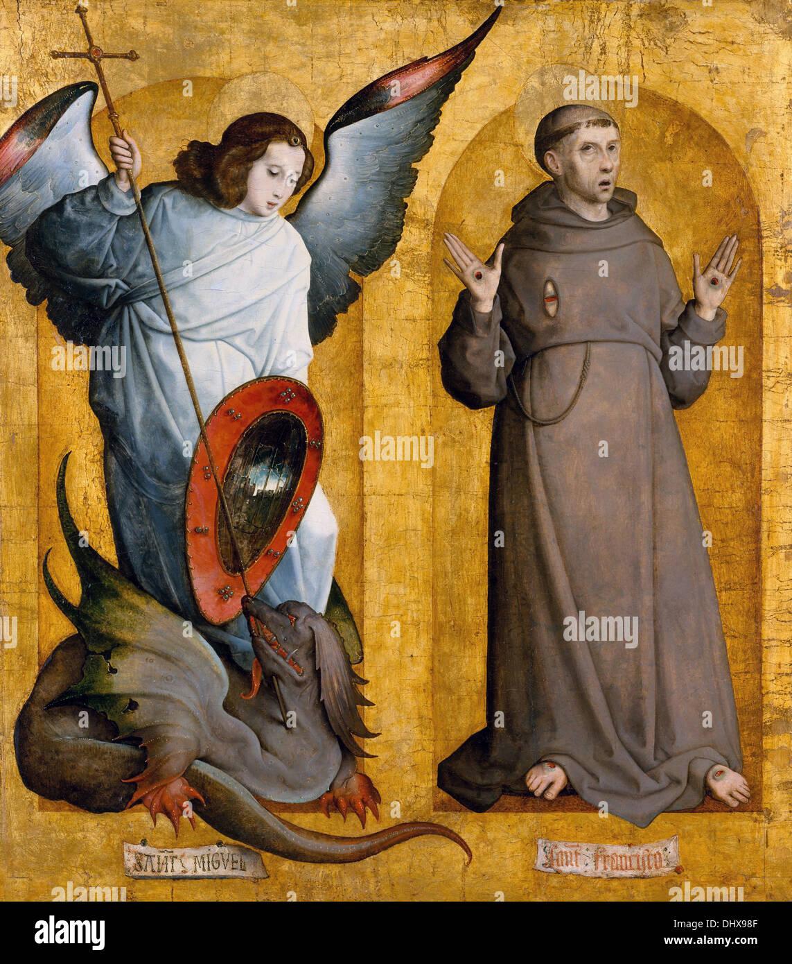 Saints Michael and Francis  - by Juan de Flandes, 1509 - Stock Image