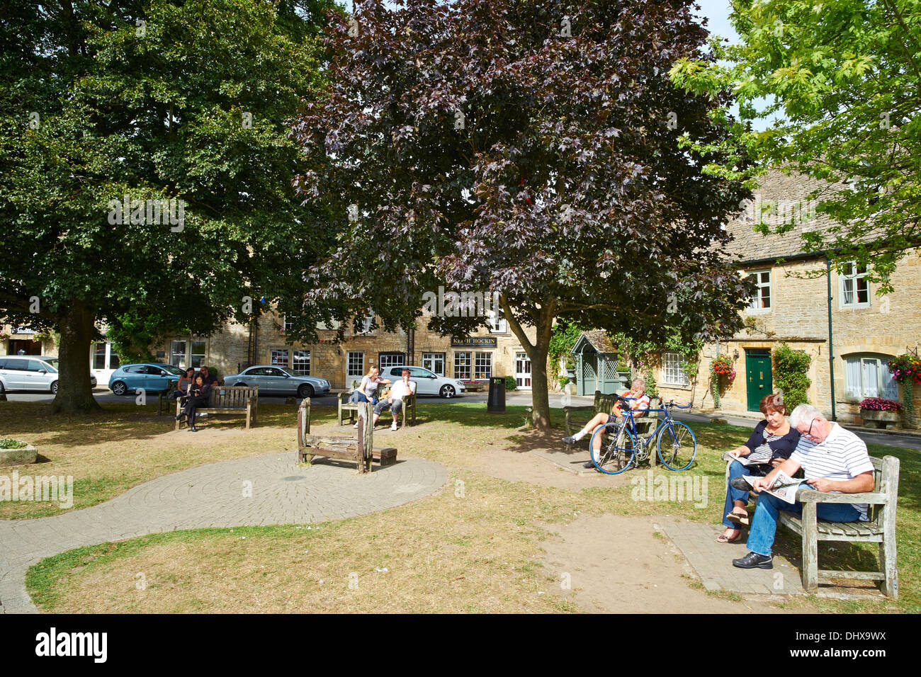The green with the stocks Stow-on-the-Wold Cotswolds UK Stock Photo