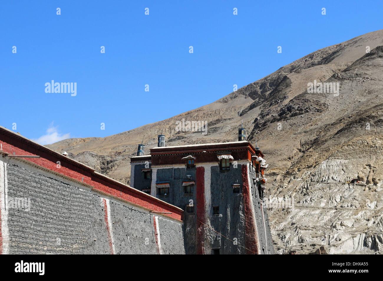 Sakya Monastery in Shigatse Tibet China - Stock Image