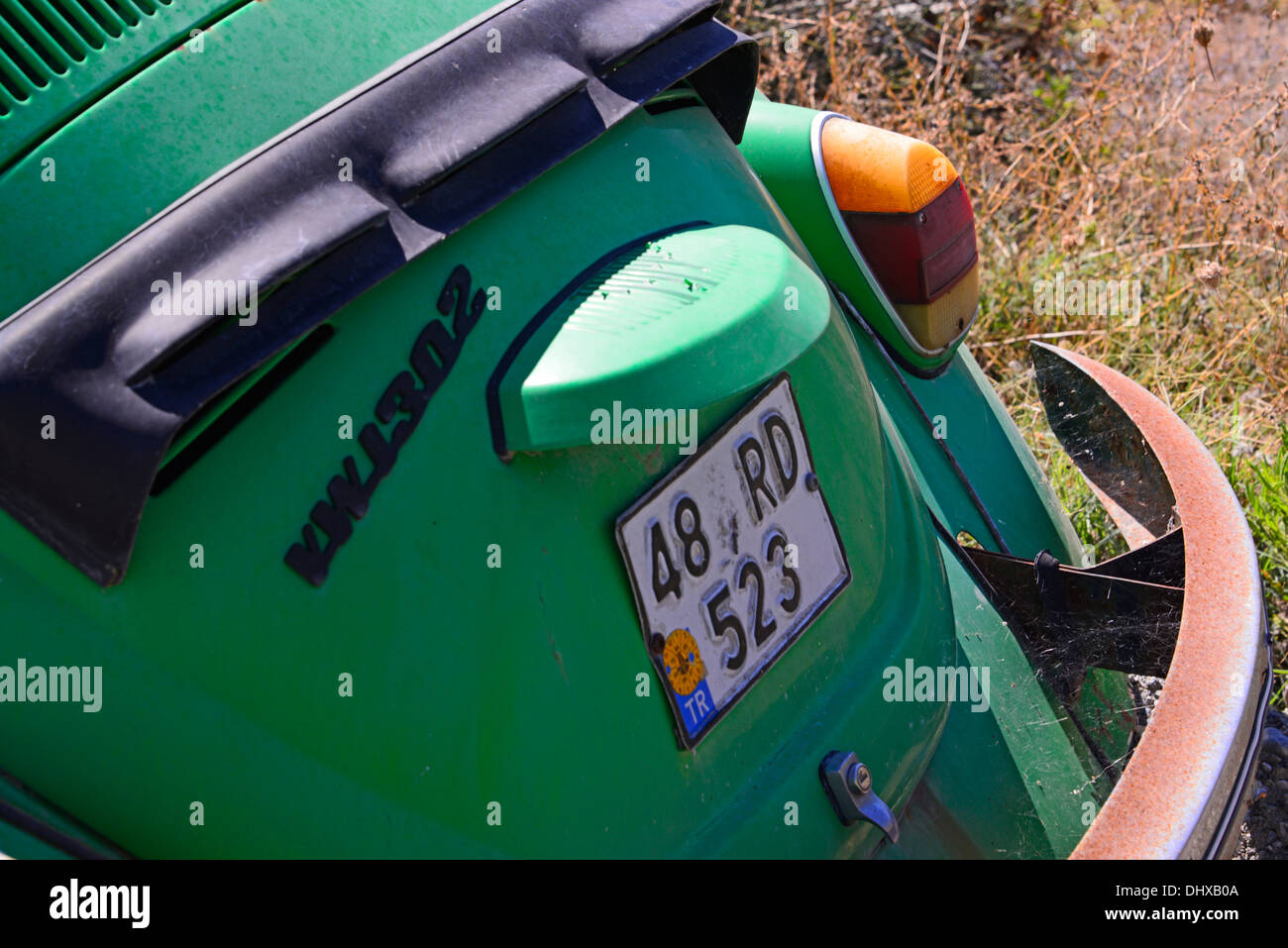 Rear view of a Volkwagen 'Beetle 1302'. - Stock Image