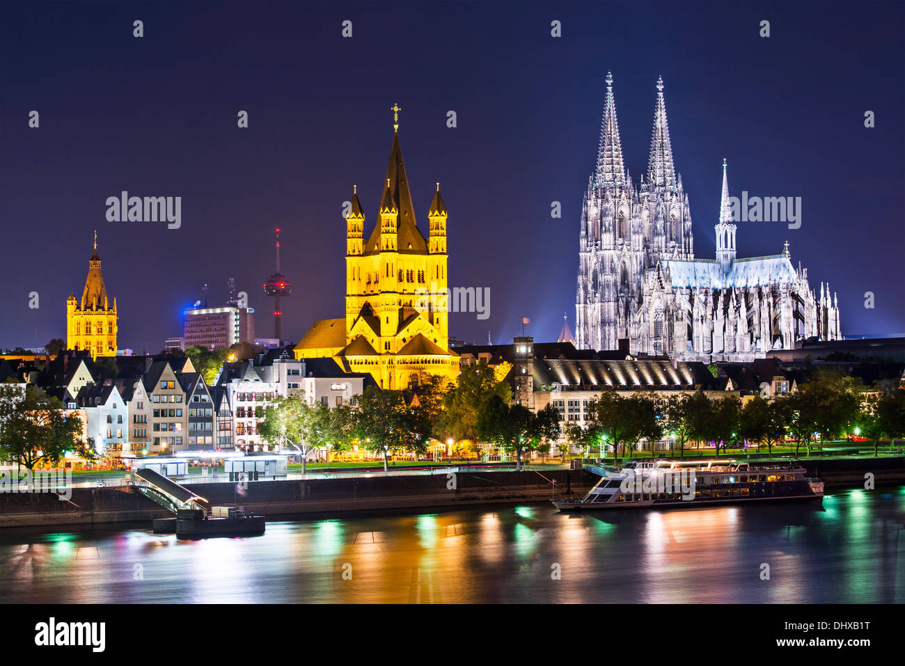 Cologne, Germany skyline on the Rhine River. - Stock Image