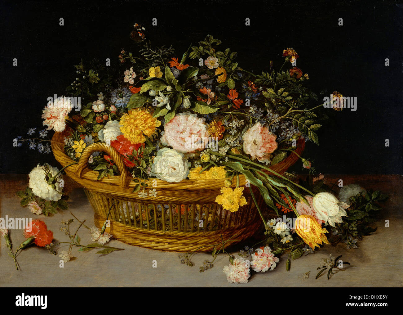 A Basket of Flowers - by Jan Brueghel the Younger, 1620 - Stock Image